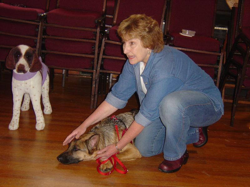 Debby Potts with Naomi and Hershey - TTouch Training, Dayton, NJ 10-09 001