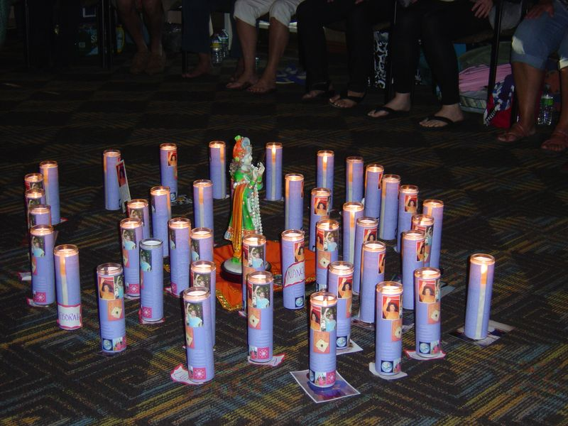 Sacred Sai Baba and Amma Candles for Students at Nigel Taylor NJ Seminar - July 2010 002